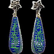 Art Deco Czech Drop Earrings Egyptian Revival