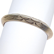 Heavy Sterling Stamped Southwest Carinated Cuff Bracelet