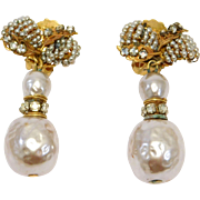 Vintage Miriam Haskell Simulated Pearl And Filigree Earrings