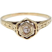 14K Yellow Gold Filigree And Diamond Ring Art Deco