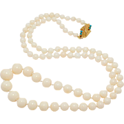 Graduated Angelskin Coral Necklace With 14K Turquoise Gold Clasp