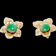 Pretty Elegant 10K Jade Old Screwback Flower Earrings