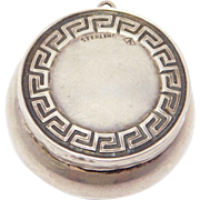 Deco Sterling Chatelaine Or Pill Box Greek Key Design