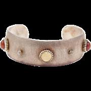 Rare Vintage Silver & Moonstone Mario Buccellati Cuff Bracelet