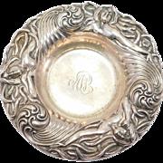 Gorgeous Art Nouveau Repousse Ladies In Waves Sterling Bowl