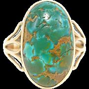 14K Art Nouveau Turquoise Ring Beautiful Stone