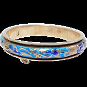 Old Chinese Silver Cloisonne Enamel Bangle Bracelet