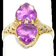 Art Deco 14K Amethyst Hearts Filigree & Diamond Ring