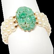 Art Deco Carved Jade 14K & Cultured Pearl Bracelet