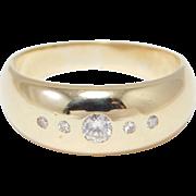14K Diamond Set Band Estate Gypsy Set Diamonds