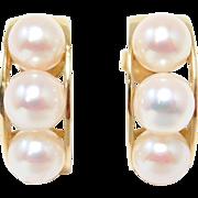 14K Half Hoop 7mm Cultured Pearl Estate Earrings 7.6 Grams