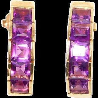 14K Princess Cut Amethyst Earrings Half Hoop Estate 5 Grams