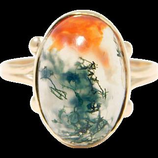 Pretty Rose Gold Art Nouveau Moss Agate Ring