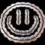 Modernist Silver And Onyx Set Parure Necklace Bracelet Earrings