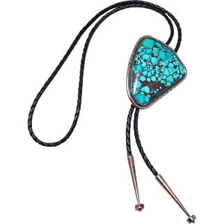 Incredible Huge Nevada Blue Turquoise Sterling Bolo Signed Southwest