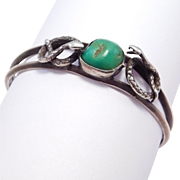 Old Silver Cuff With Turquoise & Snakes
