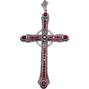 Huge Garnet And Marcasite Cross Pendant Estate