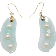 14K Estate Jade & Cultured Pearl Pea Pod Earrings