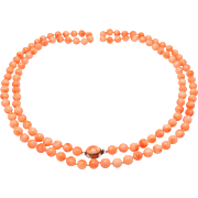 Pretty 7mm Long Salmon Coral Beads Necklace