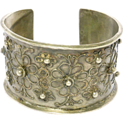 Wide Ornate Low Grade Silver Ethnic Antique Cuff Bracelet