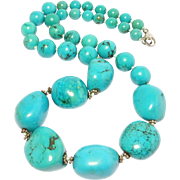 Beautiful Fine Turquoise Beads And Nuggets Necklace