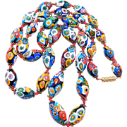 Old Italian Millefiori Glass Oval Beads Necklace