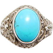 Sterling Filigree Chinese Turqouise Ring Pretty