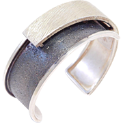 Engraved & Oxidized Modernist Silver Cuff By Davide Bigazzi