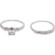 14K Art Deco Emerald Cut ½ Carat Diamond Engagement Set