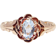 10K Rose Gold Victorian Aquamarine Ring