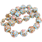 Baby Blue Italian Wedding Cake Venetian Glass Beads Necklace