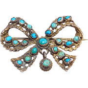 Victorian Persian Turquoise Silver Bow Pin Austro Hungarian