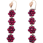 Long Drop Antique Rose Cut Bohemian Garnets Earrings