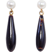 14K Black Coral & Cultured Pearl Earrings Estate
