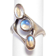 Unique Modernist Sterling Moonstones Ring