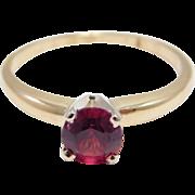 14K Garnet Solitaire Ring Estate Pretty Stone