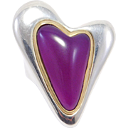 Large Modernist Amethyst Silver Heart Ring RLM