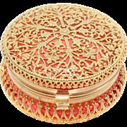 Victorian Cranberry Glass Filigree Trinket Box