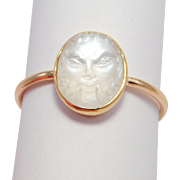 Rare Victorian Carved Moonstone Gothic Face Ring 14K