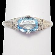 Edwardian Platinum Aquamarine And Diamonds Filigree Ring