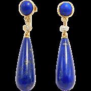 Art Deco 14K Lapis Drop And Seed Pearl Earrings