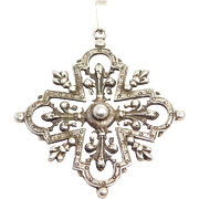 Ornate Old Italian 800 Silver Cross Fleur De Lis