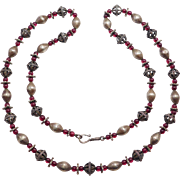 Long Necklace Ornate Silver Beads With Garnet Beads