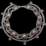 Rare Ornate Art Nouveau Sterling Festoon Necklace