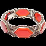 Rare German Art Deco Carnelian Marcasite 935 Bracelet