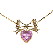 Victorian Amethyst Heart & Seed Pearl Bow 9Ct Lavalier