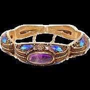Gorgeous Chinese Vermeil Cloisonne Amethyst Bracelet