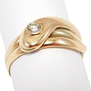 Victorian 9ct Rose Gold Snake Ring Old Cut Diamond 1898