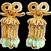 Ornate Old Silver Gilt Filigree Jade Dangle Earrings