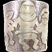 Incredible Silver Graziella Laffi Peruvian Wide Figural Cuff Bracelet